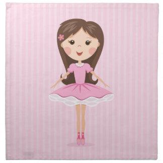 Cute little ballerina cartoon girl in pink tutu printed napkin