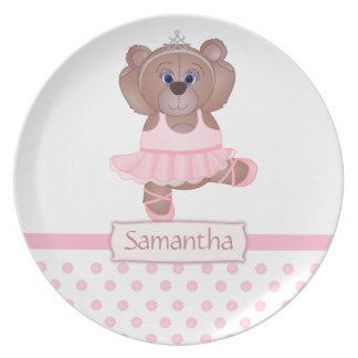 Cute Little Ballerina Cartoon Teddy Bear in Pink Plate
