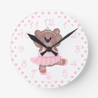 Cute Little Ballerina Cartoon Teddy Bear in Pink Round Clock