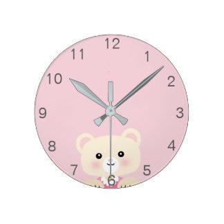 Cute little bear Nursery room Wall Clock