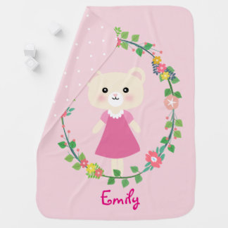 Cute little bear with floral wreath Baby Blanket