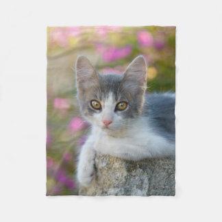 Cute Little Bicolor Kitten Fluffy Photo Cat Lovers Fleece Blanket