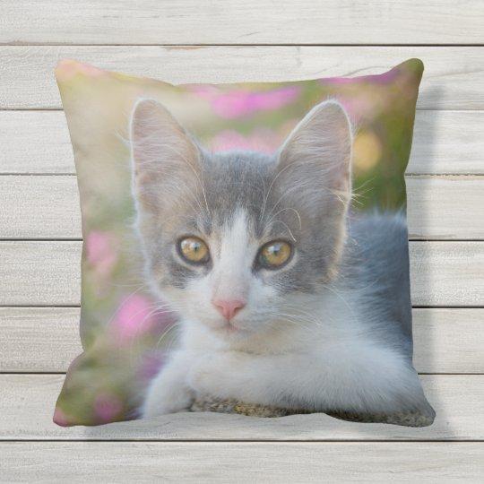 Cute Little Bicolor Kitten Fluffy Photo Cat Lovers Throw Pillow