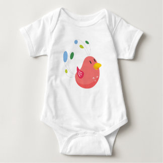 cute little bird flying and singing baby bodysuit