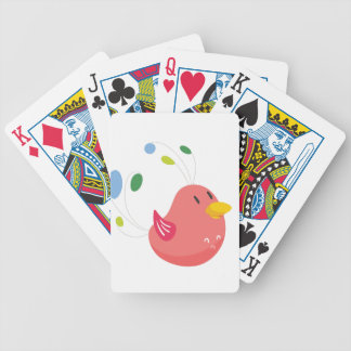 cute little bird flying and singing bicycle playing cards