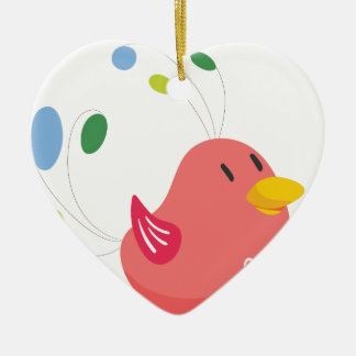 cute little bird flying and singing ceramic heart ornament