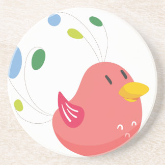 cute little bird flying and singing coaster