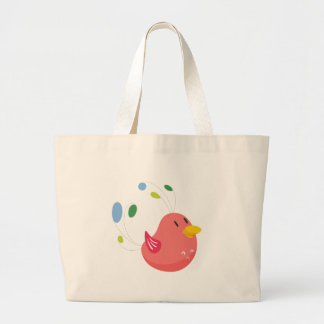 cute little bird flying and singing large tote bag