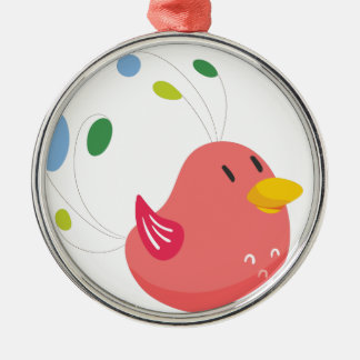 cute little bird flying and singing metal ornament