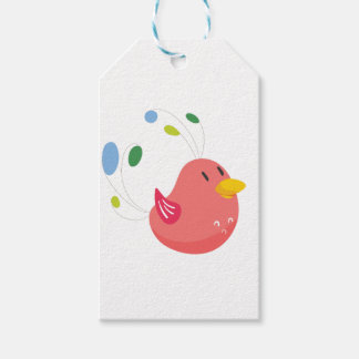 cute little bird flying and singing pack of gift tags