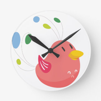 cute little bird flying and singing round clock