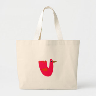 Cute little bird  Red on white Large Tote Bag