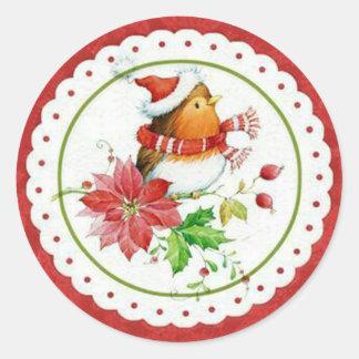 Cute Little Birdie Wearing Christmas Cap & Scarf Classic Round Sticker