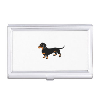 Cute Little Black and Tan Dachshund - Doxie Dog Business Card Holder