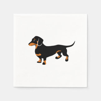 Cute Little Black and Tan Dachshund - Doxie Dog Paper Napkins