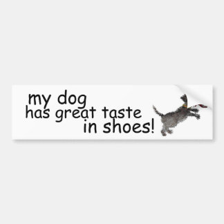 """Cute Little Black Dog With Red Shoe"" Bumper Sticker"