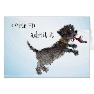 Cute Little Black Dog With Red Shoe Card