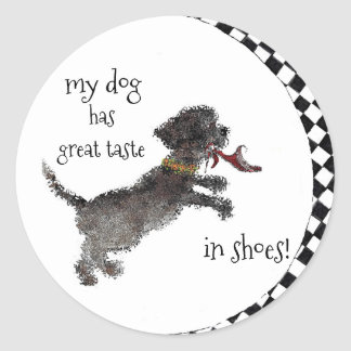 Cute Little Black Dog With Red Shoe Round Sticker