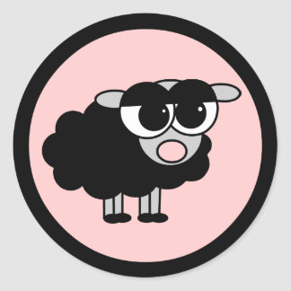 Cute Little Black Sheep Black and Pink Stickers