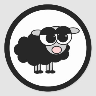 Cute Little Black Sheep Black and White Stickers