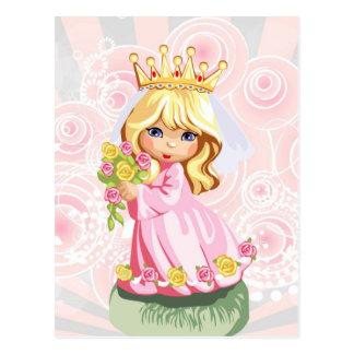 Cute little blonde princess wearing crown postcard