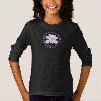 Cute Little Blue Bow Pink Teddy Bear T-Shirt