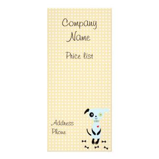 Cute Little Blue Dog Price Cards Custom Rack Card
