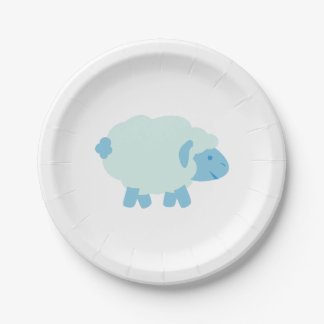Cute Little Blue Lamb Paper Plate