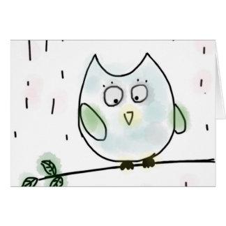 Cute Little Blue Owl Card