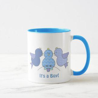 Cute Little Blue Pattern Birds It's a Boy Custom Mug