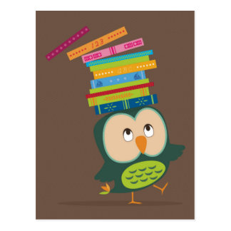Cute little book owl postcard