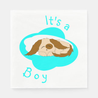 Cute Little Boy Sleepy Puppy Dog Baby Shower Napkin