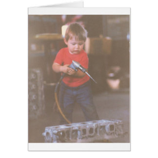 Cute Little Boy Using Tools Card