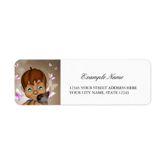 Cute little boy with his cat and  butterfly return address label