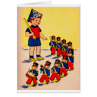 cute little boy with toy soldiers card
