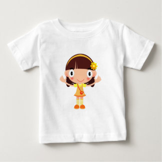 Cute Little Brow Haired Girl with a Purse Cartoon Baby T-Shirt