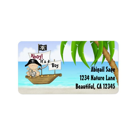 Cute Little Buccaneer Pirate Baby Shower Address Label