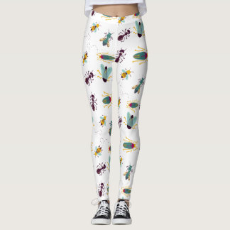 cute little bugs pattern all over printed leggings