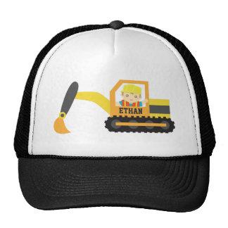 Cute Little Builder Excavator Construction Vehicle Trucker Hat