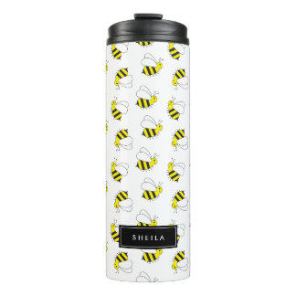 Cute Little Bumble Bee Pattern Thermal Tumbler