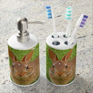 Cute Little Bunny / Rabbit / Easter Cottontail Soap Dispenser And Toothbrush Holder
