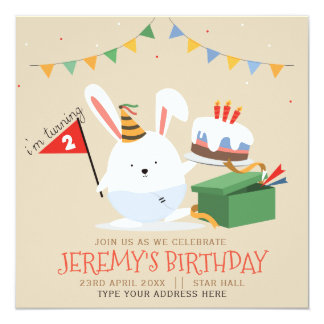 Cute Little Bunny with cake birthday party Card