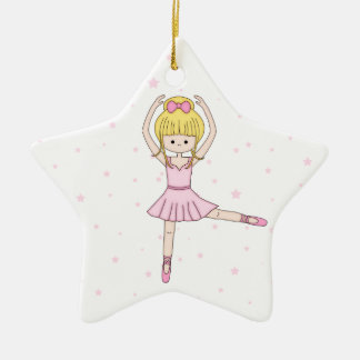 Cute Little Cartoon Ballerina Girl in Pink Ceramic Ornament