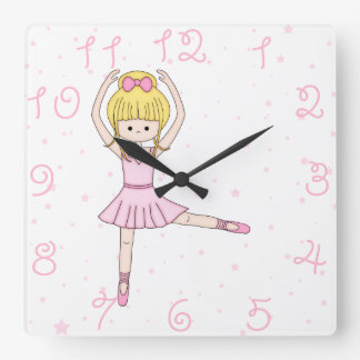 Cute Little Cartoon Ballerina Girl in Pink Square Wall Clock