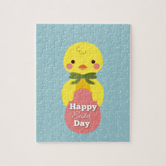 Cute little cartoon chick easter greetings puzzles