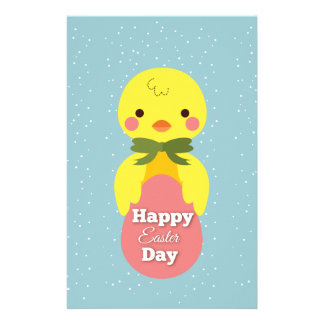 Cute little cartoon chick easter greetings stationery