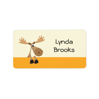 Cute little cartoon moose yellow name label/tag label