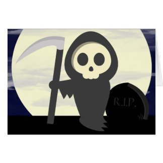 Cute Little Cartoon Skeleton Grim Reaper Card