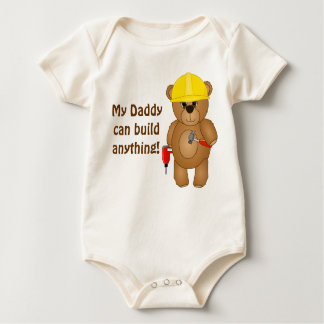 Cute Little Cartoon Teddy Bear Handyman with Tools Baby Bodysuit