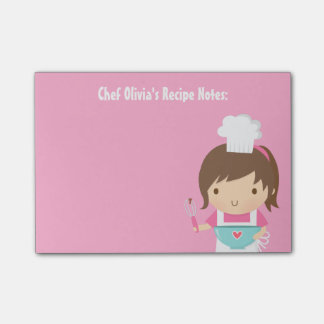 Cute Little Chef Baker Girl Recipe Post-it Notes